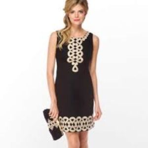 Lilly Pulitzer Adelson Dress Black Metallic 4 NWT